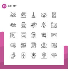 Modern set 25 lines and symbols such as vector