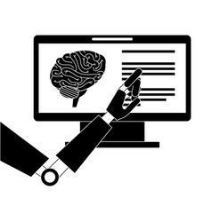 Monitor computer with brain and robot hand vector