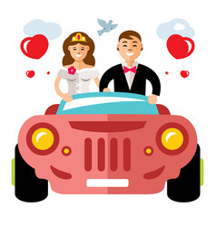 Newlyweds in a limousine flat style vector