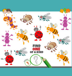 One a kind game for children with insects vector