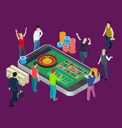 online roulette table and people casino isometric vector image