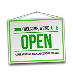 Open sign on front door - welcome back vector