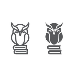 Owl on books line and glyph icon e learning vector