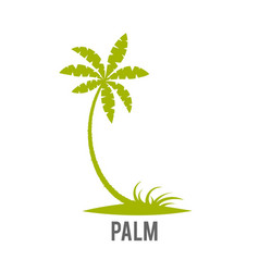 Palm trees silhouette on island vector