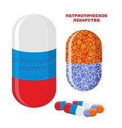 Patriotic medicine in Russia Pills with Russian vector image