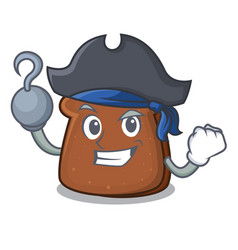 Pirate brown bread character cartoon vector