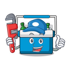 plumber freezer bag mascot cartoon vector image