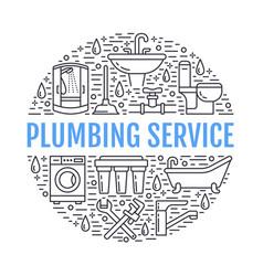 plumbing service banner line vector image