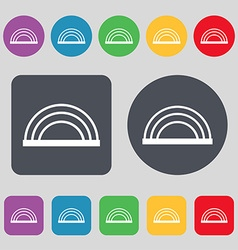 Rainbow icon sign A set of 12 colored buttons Flat vector