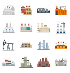 Refinery plant icons set flat style vector