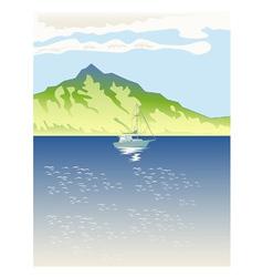Sailboat Mountains Retro vector