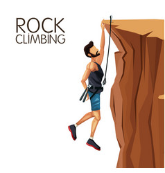 Scene man hanging on the cliff rock climbing vector