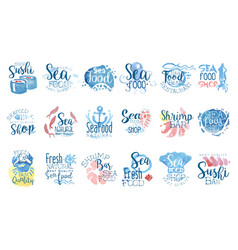Seafood cafe promo signs colorful set of vector