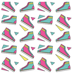 seamless pattern classic sneakers retro fashion vector image