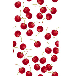 seamless pattern falling cherry fruits fresh vector image