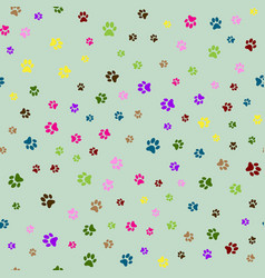 Seamless pattern with colorful animal foot prints vector