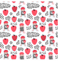 Seamless pattern with cute girls and strawberries vector