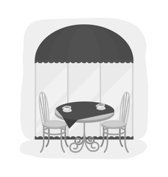 Served table near cafe icon in monochrome style vector image