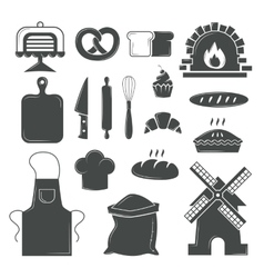 Set of bread products bakery symbols coffee shop vector