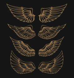 set of golden wings on dark background vector image