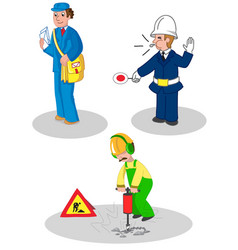 Set of workers man vector