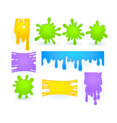 Set slime splashes liquid goo yellow vector