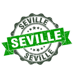 Seville round ribbon seal vector