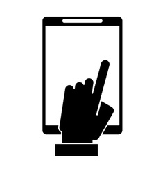 Silhouette hand touch smartphone display digital vector