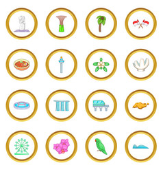 Singapore travel icons circle vector