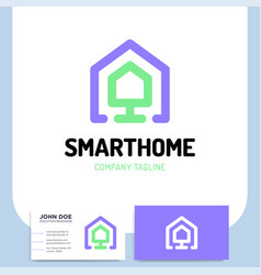 smart or technology home logo in line style with vector image