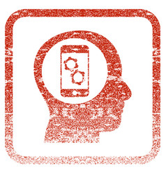 Smartphone mind control framed textured icon vector