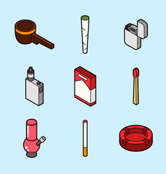 smoking flat outline isometric set vector image