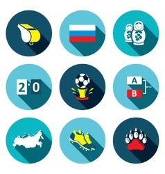 Soccer game flat Icons set vector image