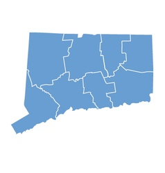 State Map of Connecticut by counties vector image