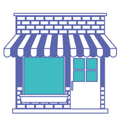 Store facade with sunshade in blue and purple vector