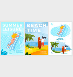 summer leisure posters set - woman in pool vector image