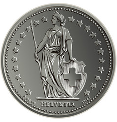 Swiss money coin one franc obverse vector
