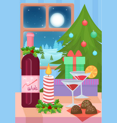 Table served for christmas vector