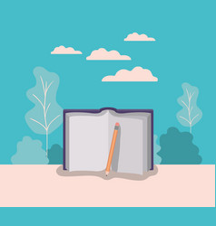 Text book and pencil with forest landscape vector