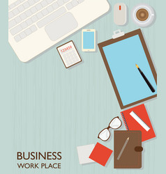 top view of business workspace vector image vector image