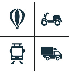 Transport icons set collection of van skooter vector