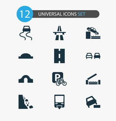 Transport icons set with start of motorway road vector