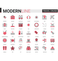 travel cruise red black flat line icon vector image