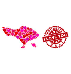 Valentine heart mosaic bali map with distress vector