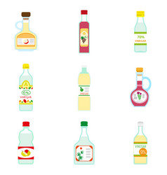 Vinegar icon set flat style vector