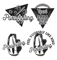 Vintage parachuting emblems vector