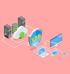Vpn protection isometric flat conceptual vector
