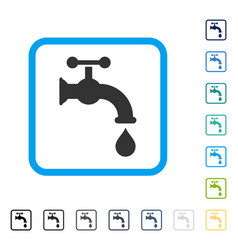 Water tap framed icon vector