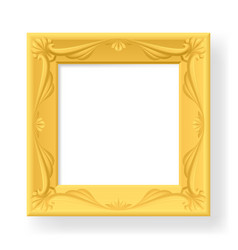 Wooden frame for photos on white vector