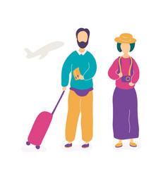 young couple waiting for flight in airport vector image